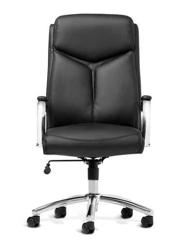 Black Vinyl And Chrome Desk Chair