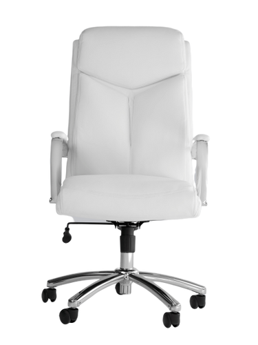 White Vinyl and Chrome Desk Chair