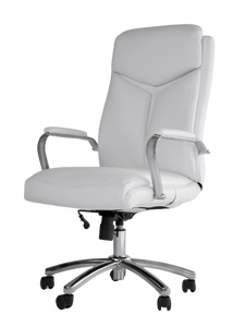 White Vinyl and Chrome Desk Chair - OUT OF STOCK