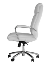 Load image into Gallery viewer, White Vinyl and Chrome Desk Chair