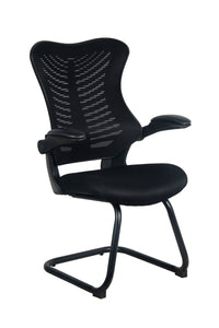 Black Mesh Back and Fabric Guest Chair with Flip Up Arms
