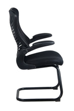 Load image into Gallery viewer, Black Mesh Back and Fabric Guest Chair with Flip Up Arms