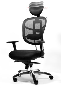 Black Mesh Back Desk Chair w/ Headrest & Chrome Base