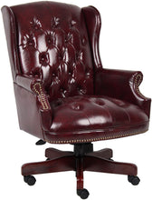 Load image into Gallery viewer, Burgandy Wing Back Desk Chair