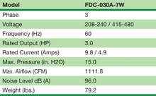 FDC-030A-7W - Fuji Electric - Specifications