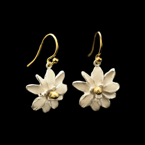 Magnolia Flower Wire Earrings