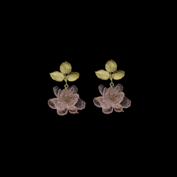 "Blushing Rose Post Drop Earrings, Bronze, 1.5"" x .87"""