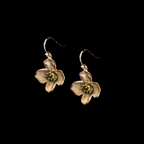 "Dogwood Flower Earrings, Bronze, .75"" x .75"""