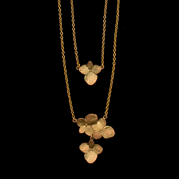 Dainty Additions Hydrangea Necklace, Bronze, 16""