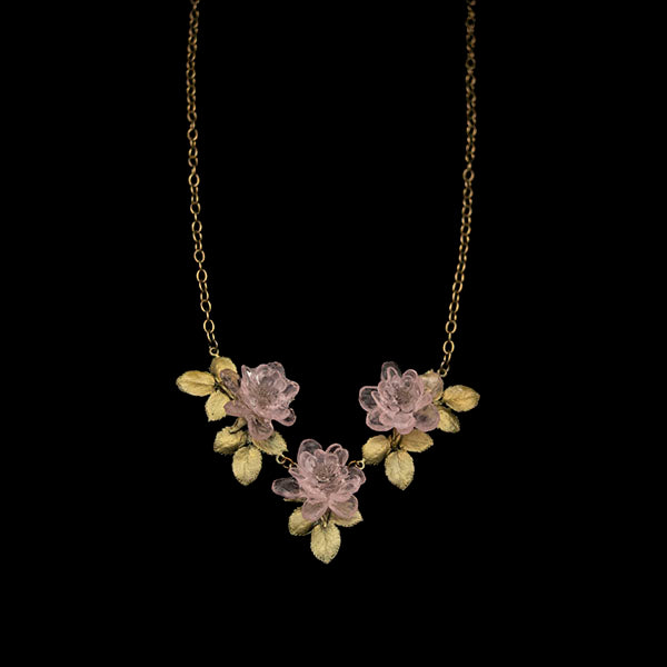 "Blushing Rose Mini Statement Necklace, Bronze, 18""- 20"""
