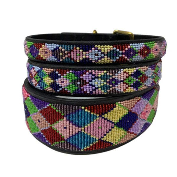 Argyle Posey Beaded, Dog Collar