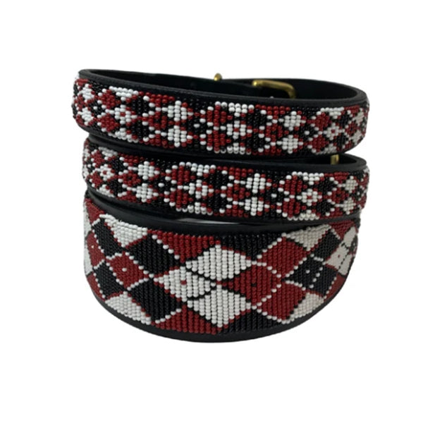 Argyle Maasai shield,  Beaded Dog Collar