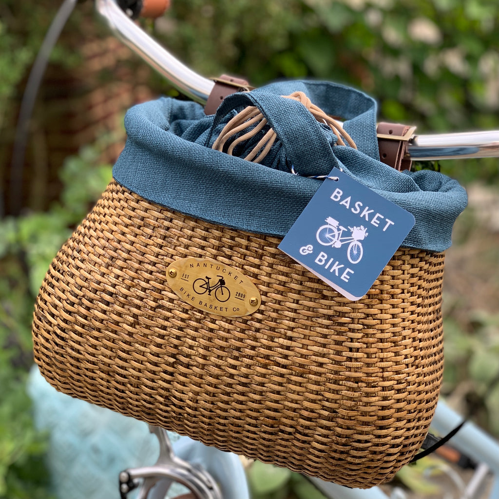 "Nantucket Lightship Bike Basket and Liner, 12""x 7.5""x 9"""