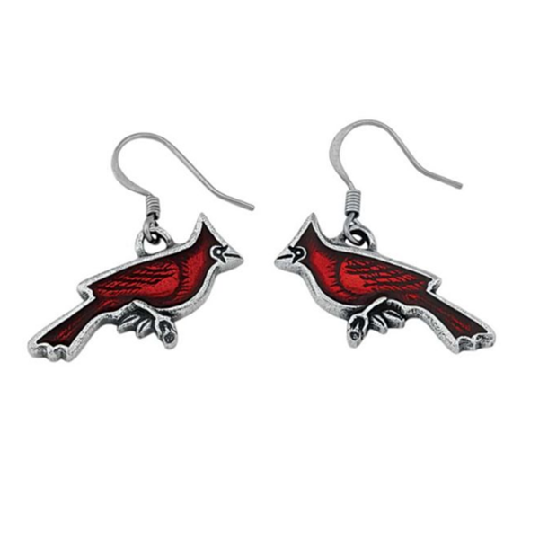 Cardinal Earrings, Pewter,1.5""