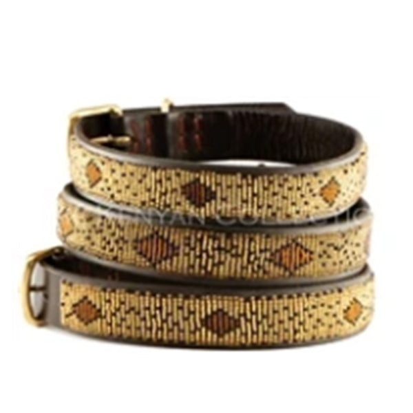 Cheetah Beaded Dog Collar