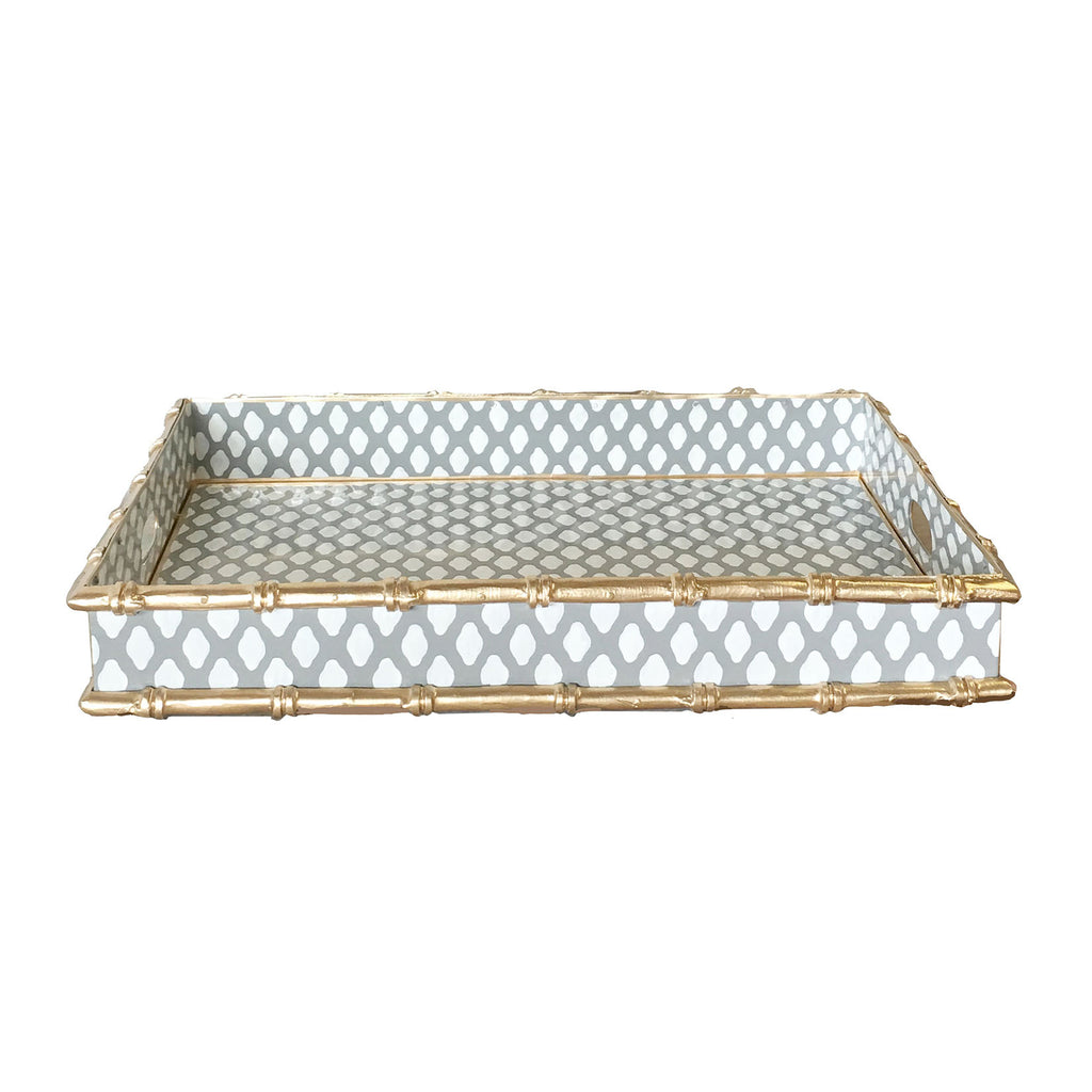 Dana Gibson Bamboo Bar Tray in Gray Parsi