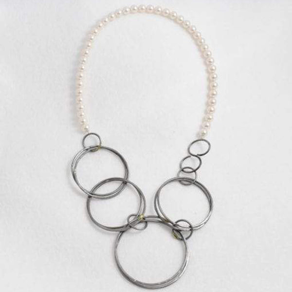 Steel & Pearl Circle, Necklace, 18""
