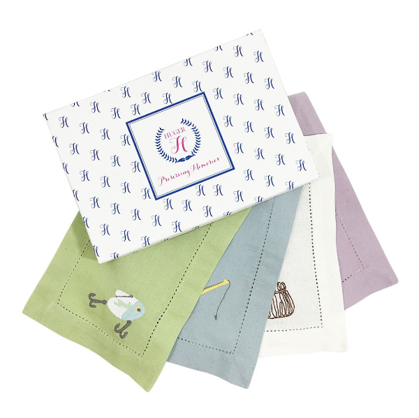 Huger Memories Embroidered Cocktail Napkins - Boxed Set of 4 - Fishing Motif