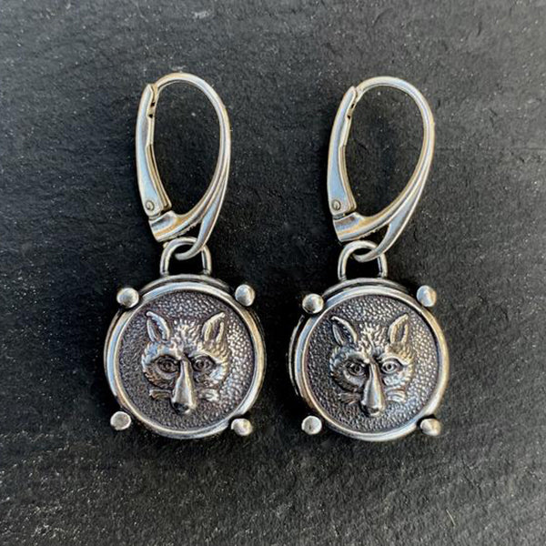 Fox Mask Earrings, Sterling Silver