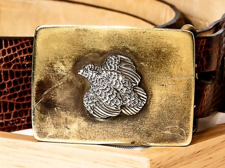 Brass with Sterling Quail Belt Buckle with Patina from wear by Grainger McKoy