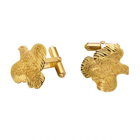 Quail Cufflinks in 14k Gold by Grainger McKoy