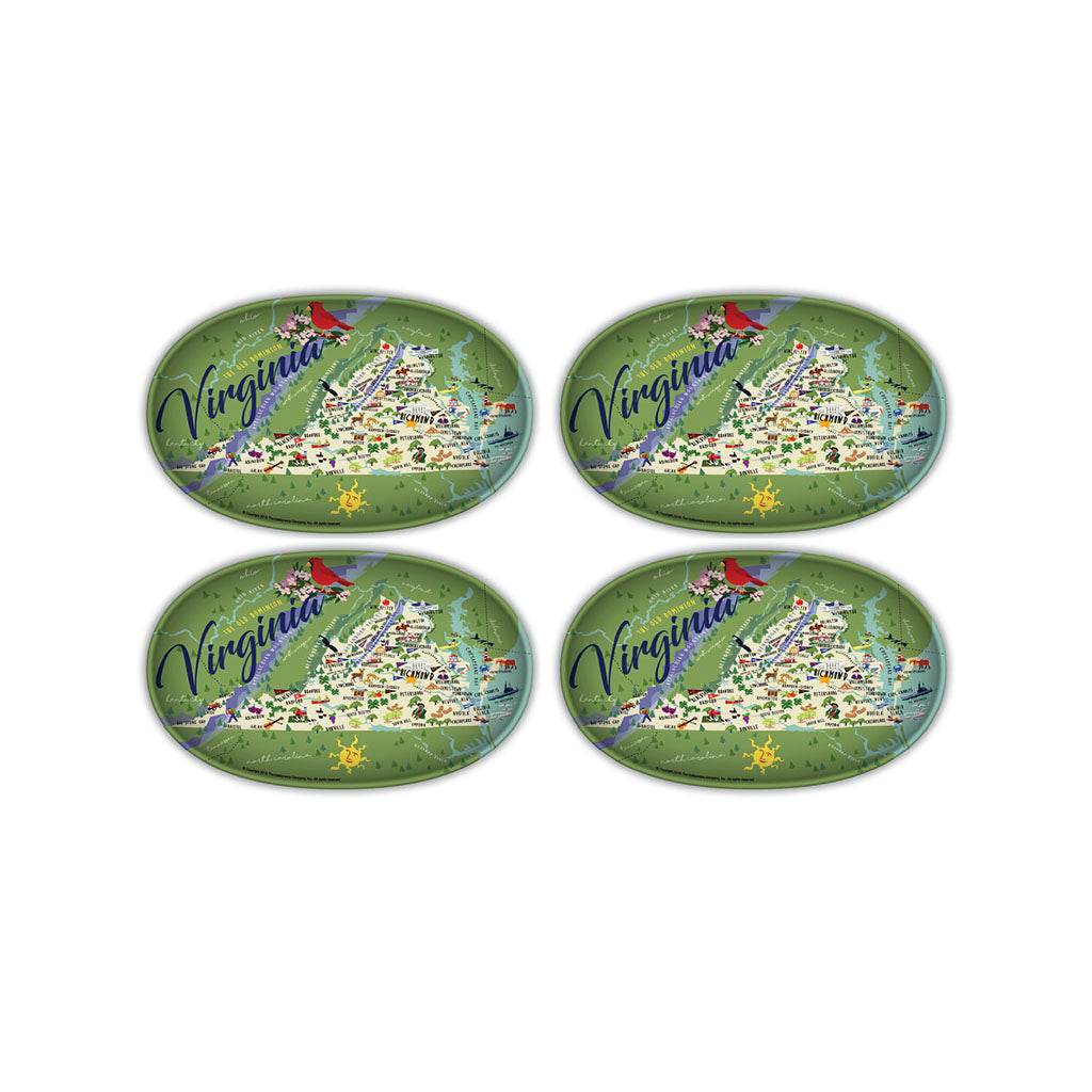 Virginia Melamine Tidbit Trays - 4 pack