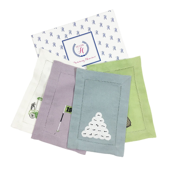 Huger Memories Embroidered Cocktail Napkins - Boxed Set of 4 - Golf Motif