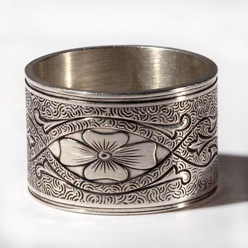 Dogwood Flower Victorian Die Rolled Vintage Engraved Ring by Hugo Kohl