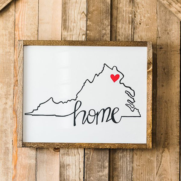 """Home in Virginia"" Wood Sign, 20"" x 16"""