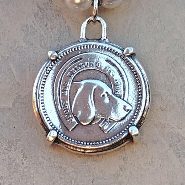 Hound Medal Pendant Necklace, Sterling Silver, 17""