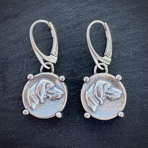 Hound Drop Earrings, Sterling Silver