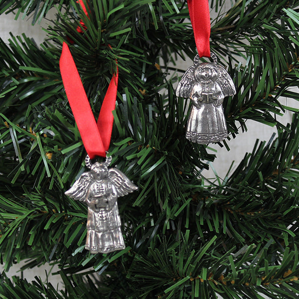 Ornaments, Singing Angels, Pewter, Set of 2