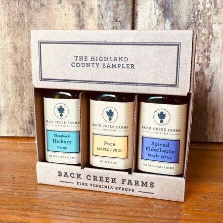 Highland County Syrup Sampler, Three 4oz Bottles