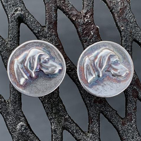 "Foxhound Stud Earrings, Sterling Silver, 1/2"" Diameter"