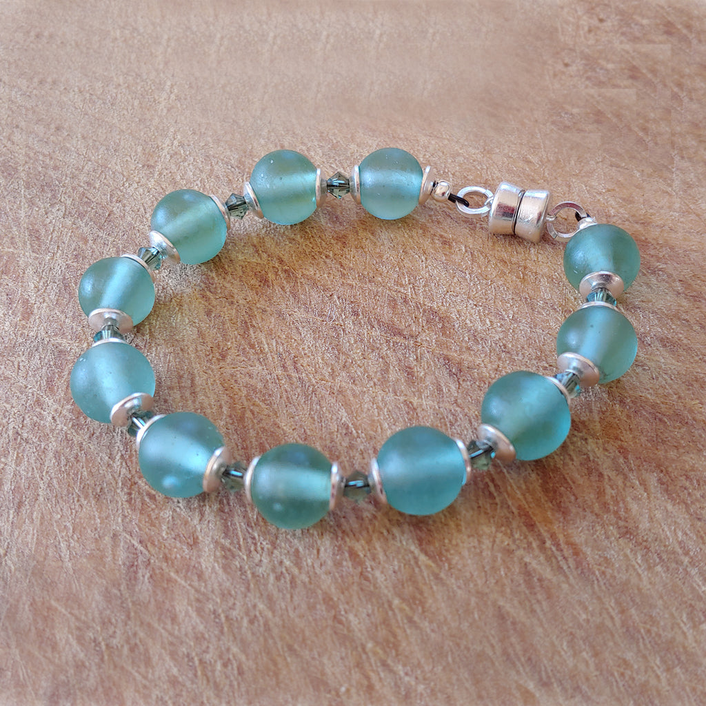 Recycled Antique Mason Jar Glass Bracelet, Matte