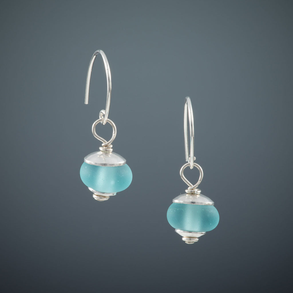 Recycled Antique Mason Jar Glass Earrings - Matte