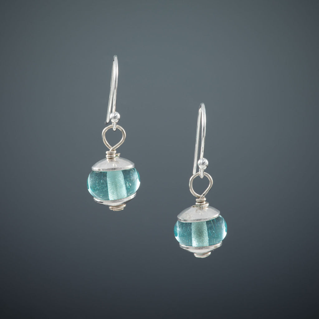 Recycled Antique Mason Jar Glass Earrings - Shiny