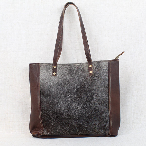 "Silvered Tonal Cowhide Tote, Cowhide Leather, 18.5"" x 14"""