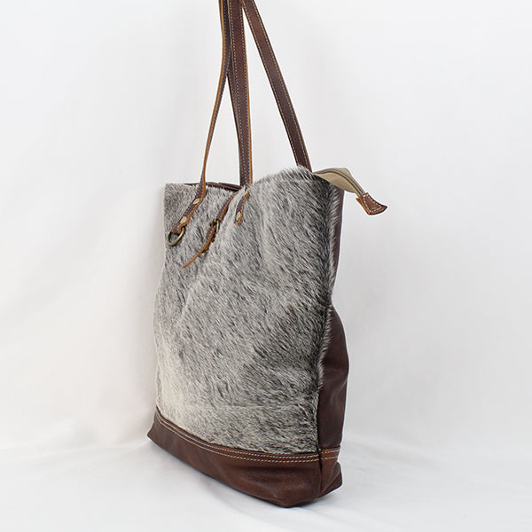 "Simple Tonal Cowhide and Leather Tote, 16"" x 15"""