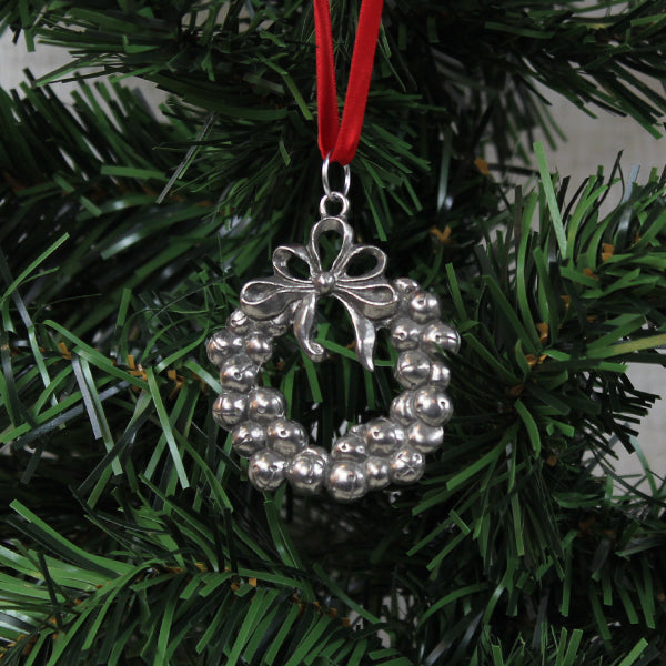 Ornament, Jingle Bell Wreath, Pewter