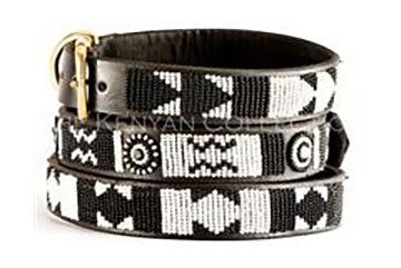 Ebony + Ivory Beaded Dog Collar by The Kenyan Collection