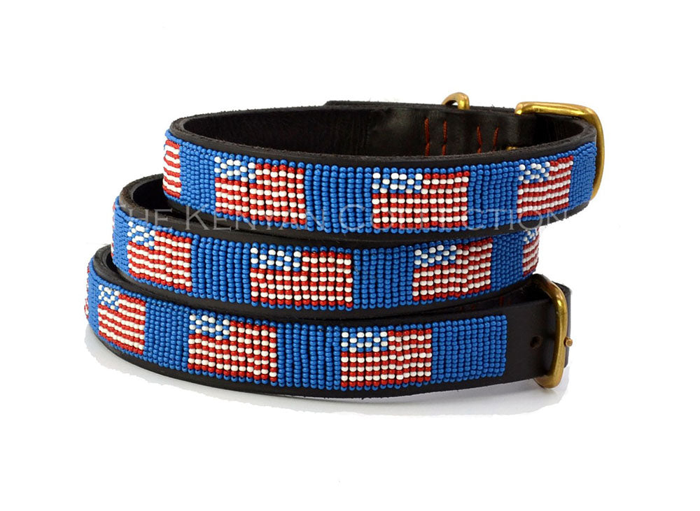 American Flag Beaded Dog Collar by The Kenyan Collection
