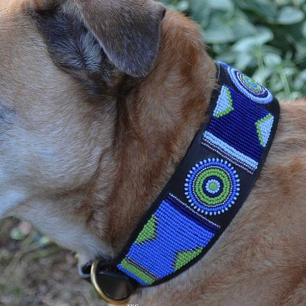 Passion Flower Beaded, Dog Collar