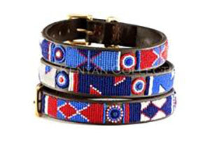 Red, White + Blue Beaded Dog Collar by The Kenyan Collection