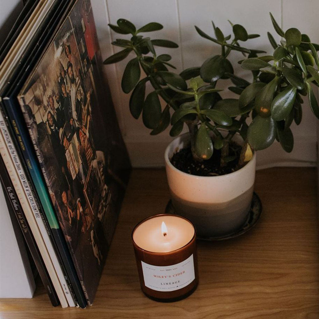 Wiley Cider Candle closeup in room by Lineage Goods