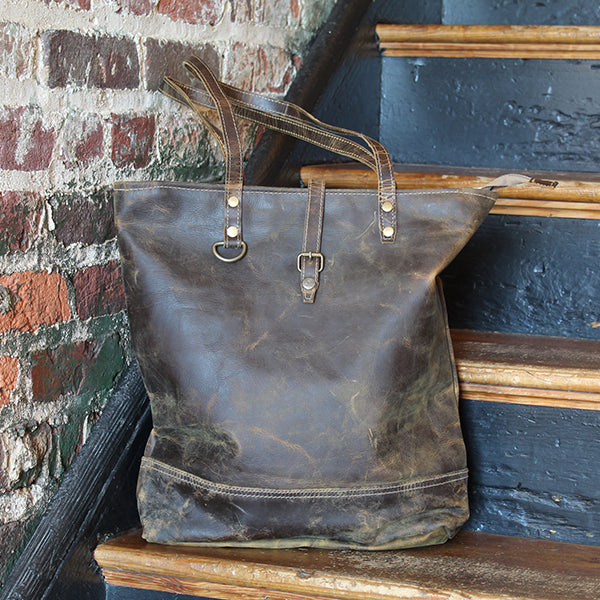 Distressed, Premium Leather Tote Bag