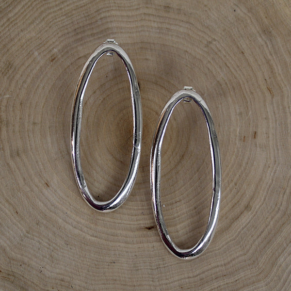 Organic Ovals on Posts, Earrings, 2""