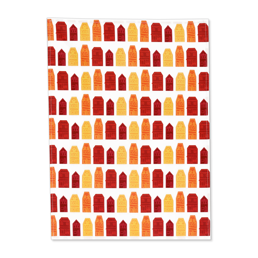 "Red Row House Tea Towel, 17.5"" x 24"""