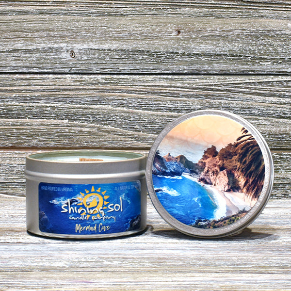 Shining Sol Mermaid Cove Scented Soy Candle - Travel Tin