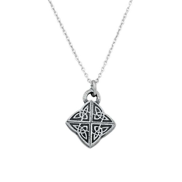 Celtic Knot Mini Necklace, Pewter, 17""